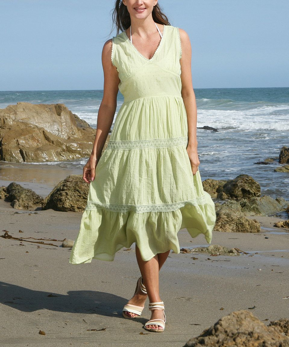 Another great find on #zulily! Ananda's Collection Sage Green Swiss Dot Maxi Dress - Women by Ananda's Collection #zulilyfinds