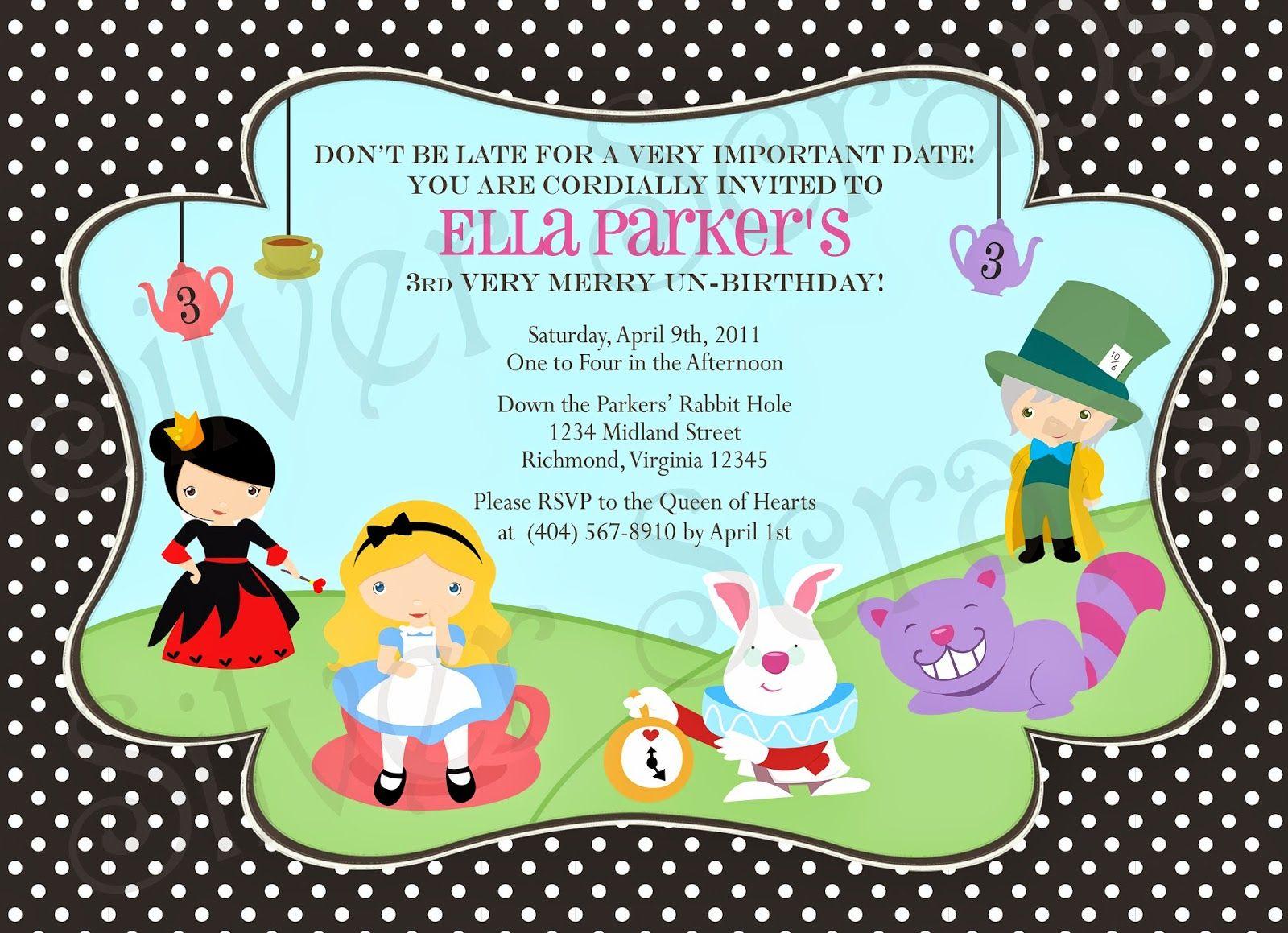 alice in wonderland birthday invitations free printable Alice