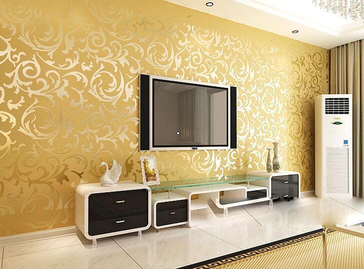 Contracted ou lang Chinese trumpet creeper wallpaper in the living ...