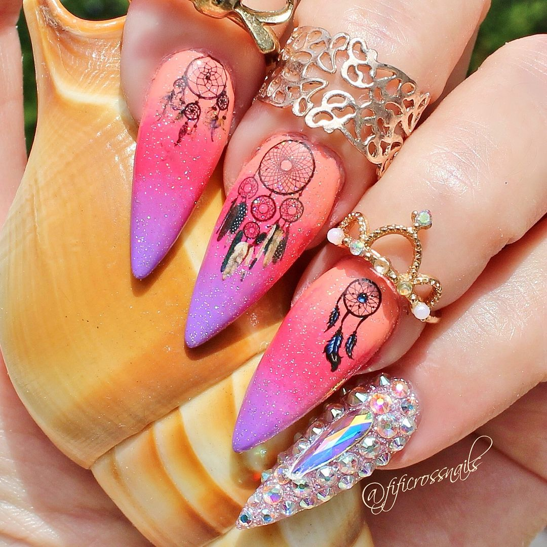 Owl Dream Catcher Nail Decals Transfer Nail Art Stickers Nail ...
