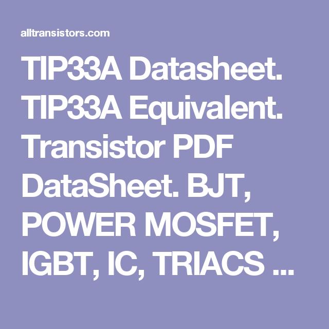 TIP33A Datasheet  TIP33A Equivalent  Transistor PDF DataSheet  BJT