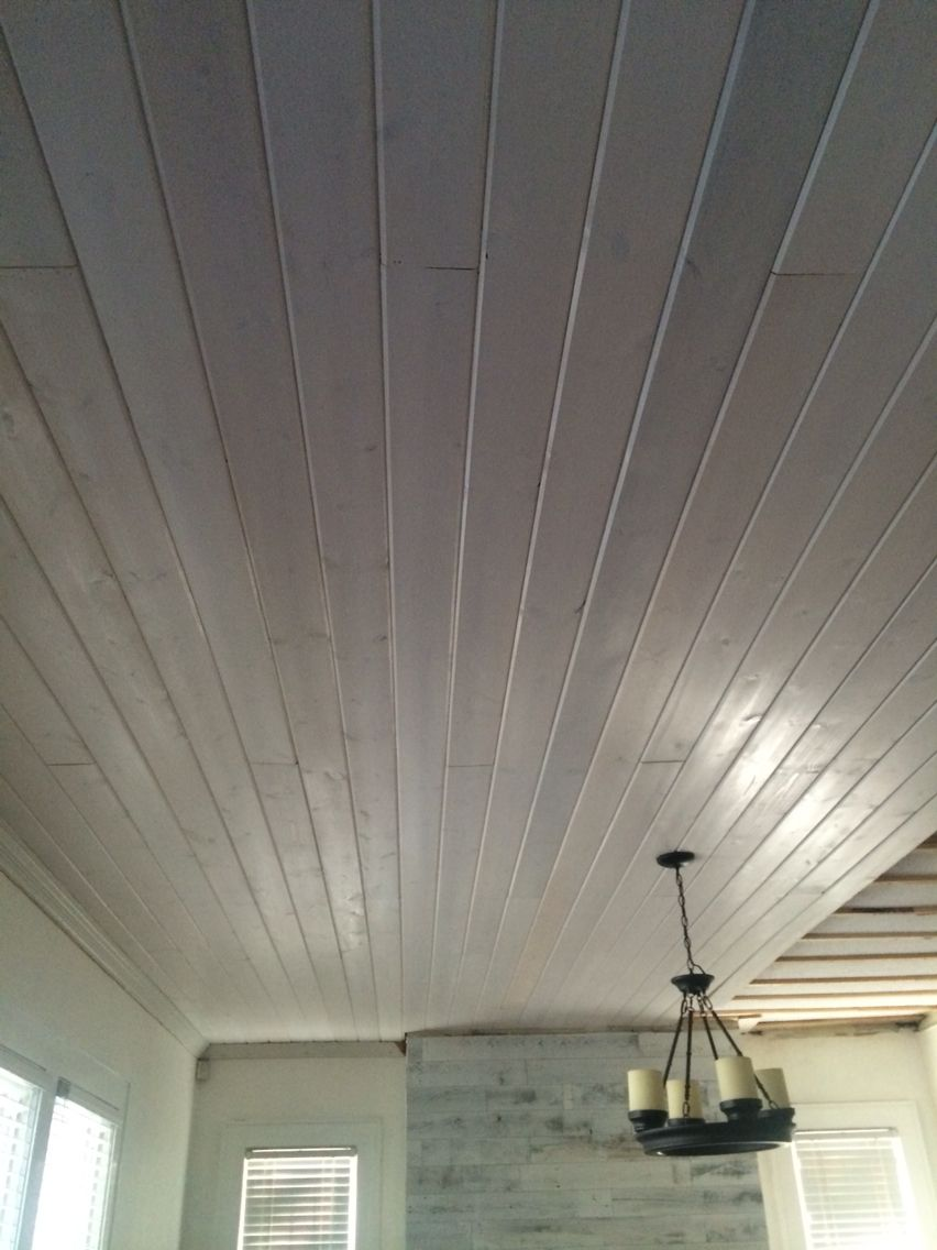 whitewash tongue and groove to cover up an ugly popcorn ceiling