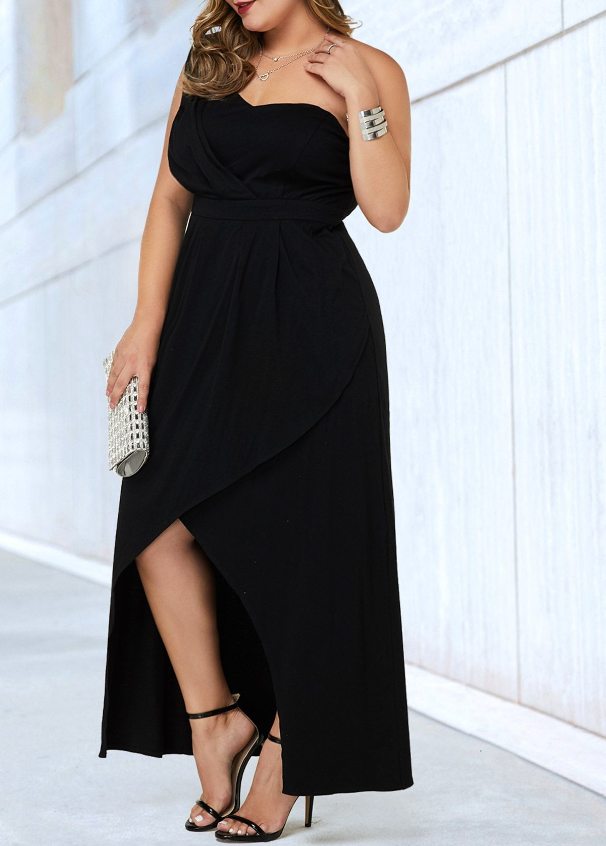 Plus Size One Shoulder Black Dress  Rosewe.com - USD $10.10