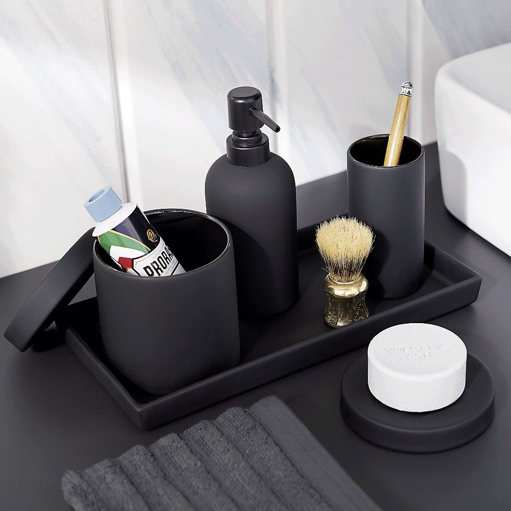 Rubber Coated Black Bath Accessories Tactile Stoneware Add A Modern Touch To The With Surprising Surface Of Matte