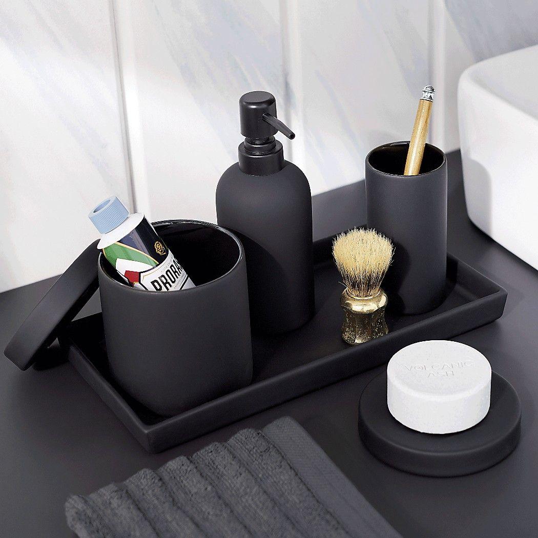 Rubber Coated Black Bath Accessories Black Bathroom Accessories