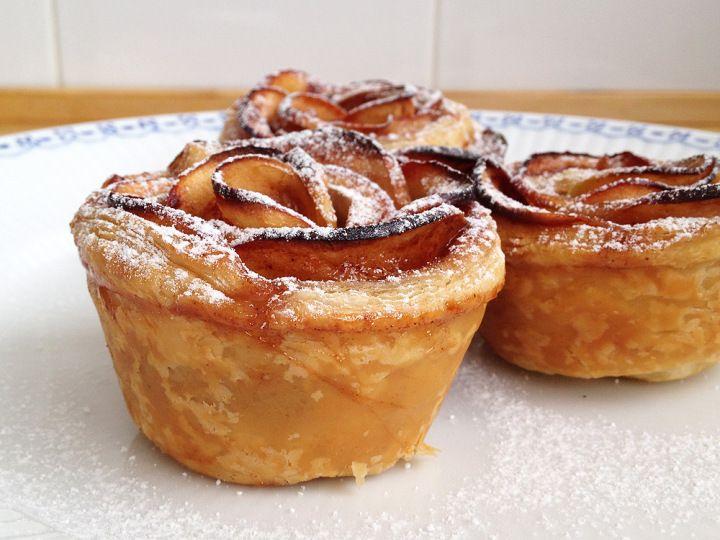 Rosas de hojaldre manzana y canela tartas bonitas - Postres con frutas faciles ...