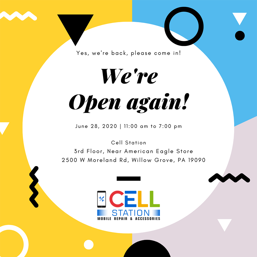 We are open! in 2020 Cell phone repair shop, Phone