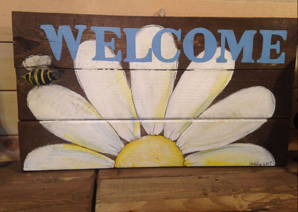 Welcome Spring Primitive Rustic Pallet Porch Country