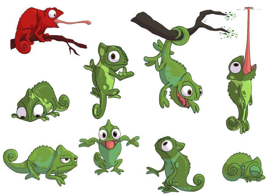 Открытка днем, ящерица смешной рисунок