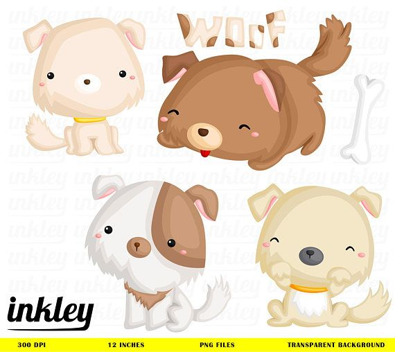 Dog And Puppie Clipart Cute Animal Clip Art Home Pet Etsy Puppy Clipart Cute Animals Cute Puppies