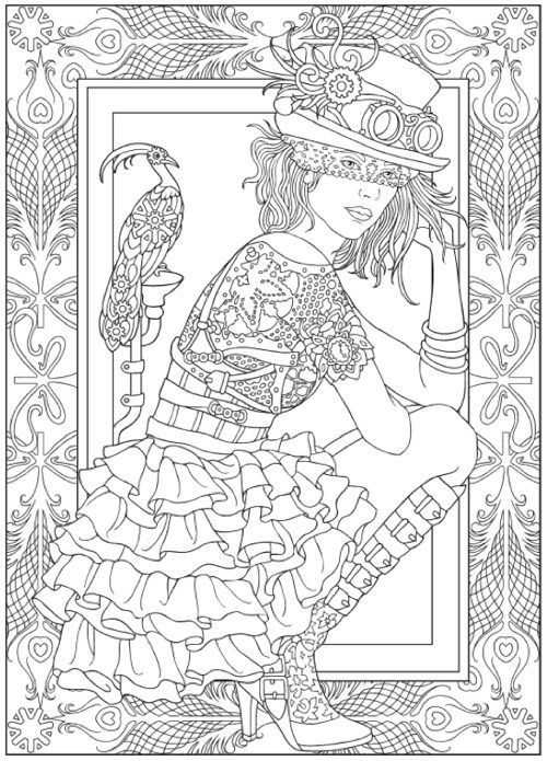 Steampunk Fashion: Adult Grayscale Coloring Book