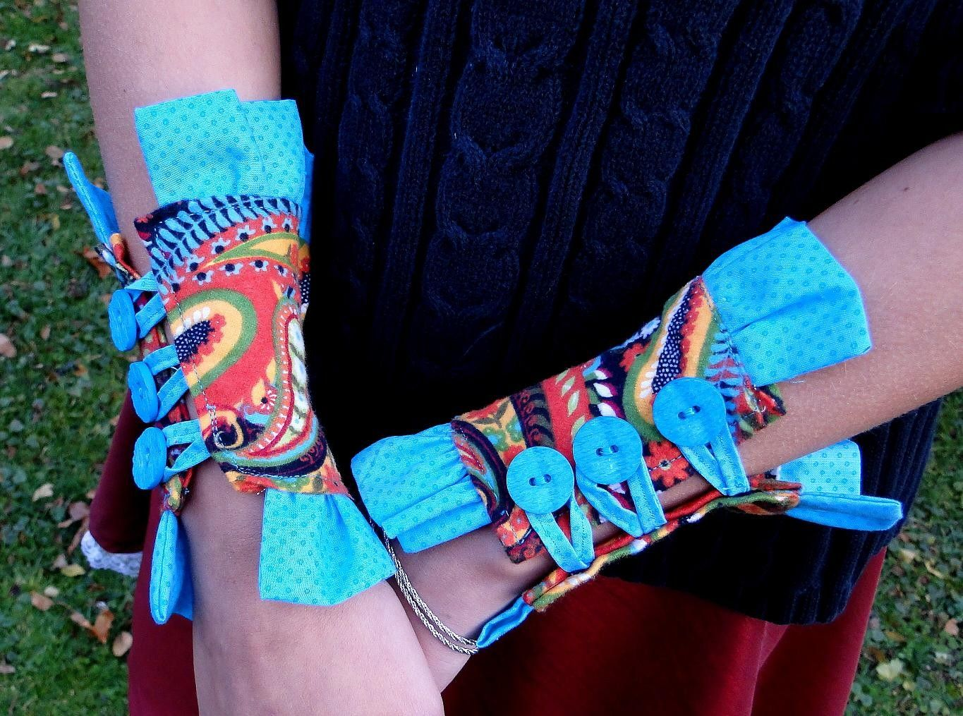 Paisley and Turquoise Flannel Wrist Cuffs. $32.00, via Etsy.