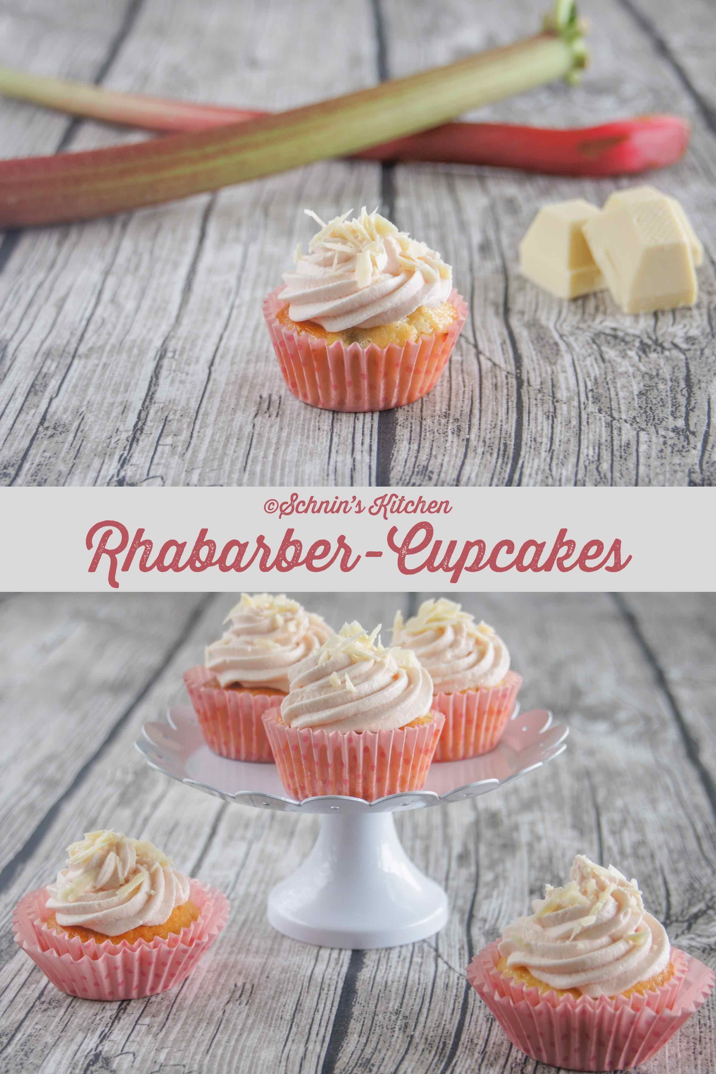 Rhabarber-Joghurt-Cupcakes mit weißer Schokolade - Schnin's Kitchen