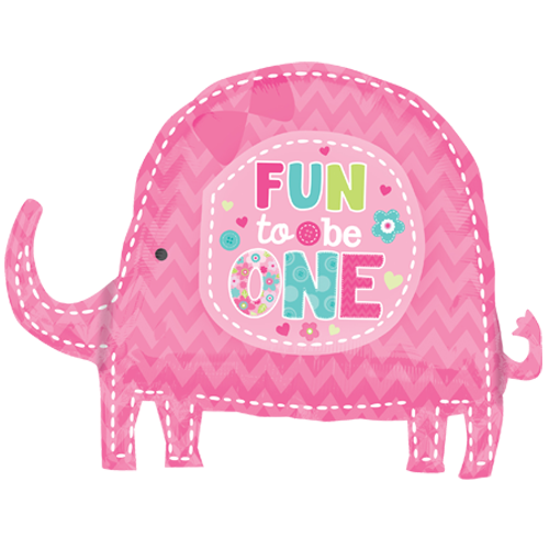Fun To Be One Girl Elephant Supershape Balloon Party