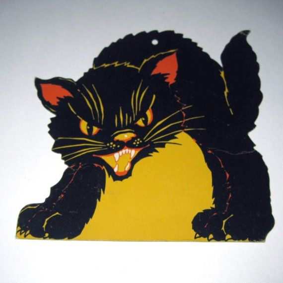 vintage cardboard scary black cat halloween by grandmothersattic - Cardboard Halloween Decorations