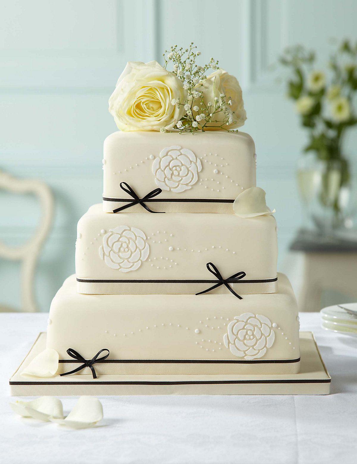 Black & Ivory Assorted Wedding Cake   M&S   wedding cakes ...