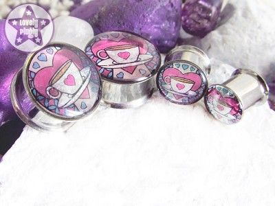 Nice Cuppa Tea Transparent Pink White Glitter Plugs