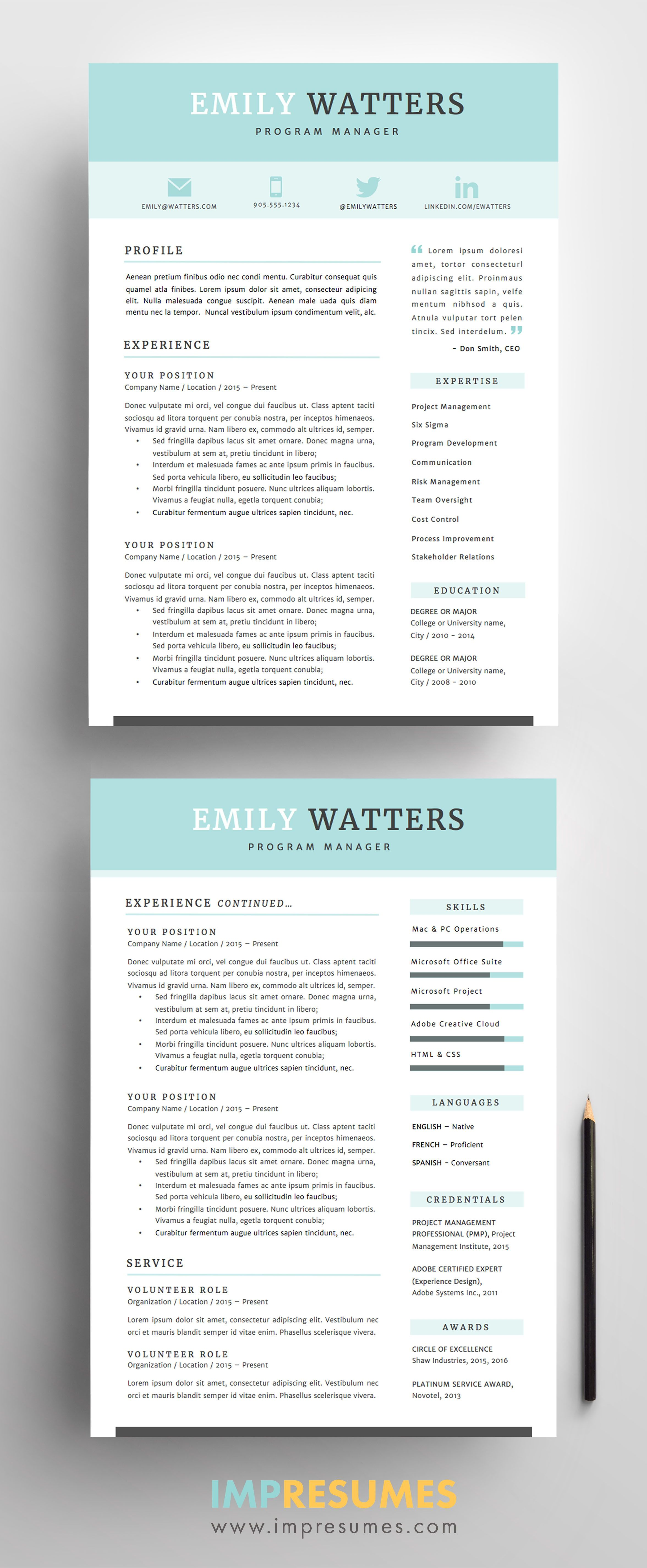 resume template package for ms word