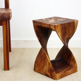 Handmade Wood Original Twist Stool Thailand 12 X 12 X 20 Monkey Pod Wood Wooden Hand Wood