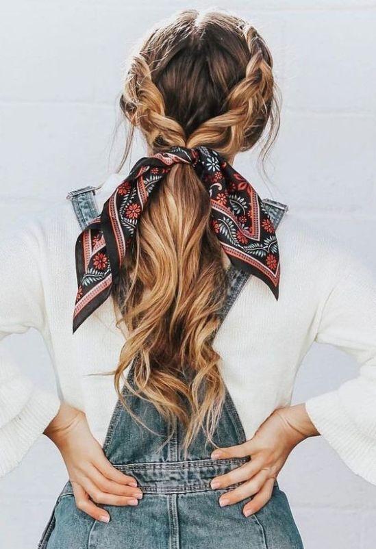 12 Idees De Coiffures Faciles Avec Un Foulard En 2020 Coiffure Avec Foulard Coiffure Facile Idee Coiffure Cheveux Long