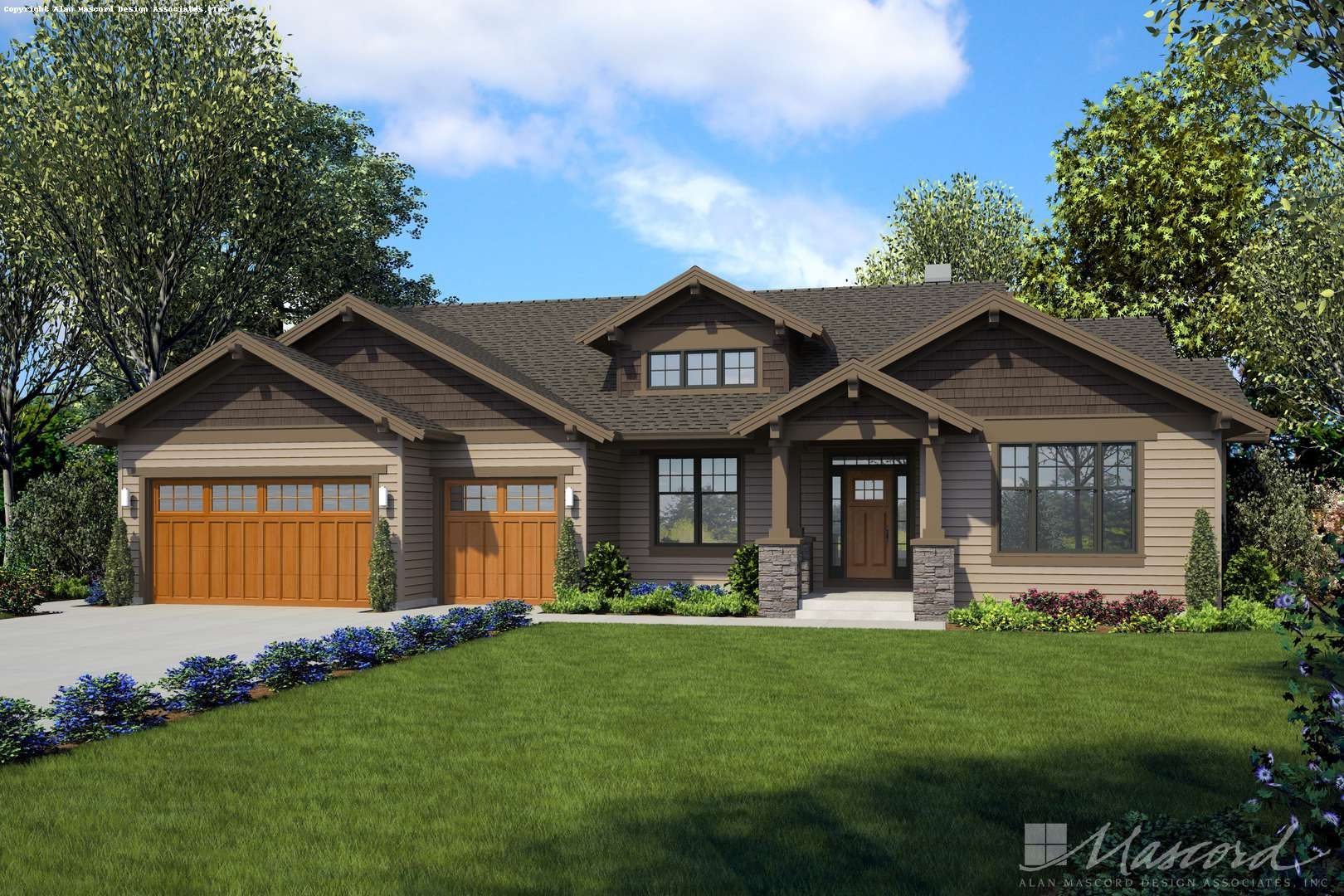 Alan Mascord Design Associates Plan 22157ba Front Rendering In 2020 Ranch House Plans Craftsman Style House Plans Craftsman Ranch