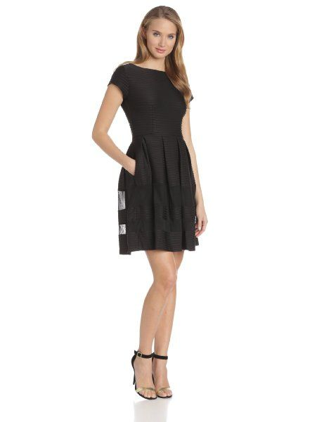 Taylor Dresses Women's Cap-Sleeve Fit-and-Flare Dress with Mesh