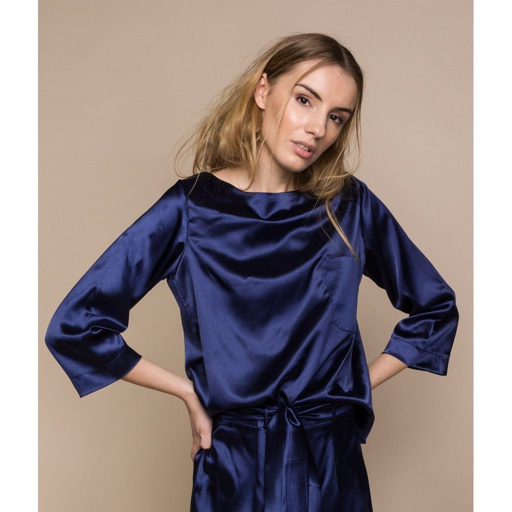 Midnight Blue Satin Blouse