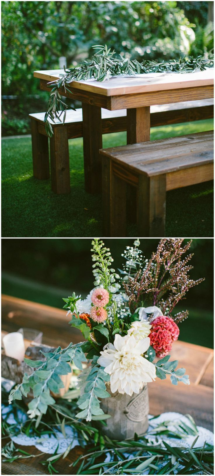 Farm table, clean lines, greenery runner, simple outdoor ...