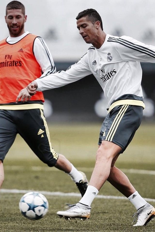48c1f54b33c3 Cristiano Ronaldo wearing Adidas Official Real Madrid Training Sweatshirt  2015 16