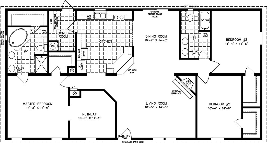 The tnr 46017w manufactured home floor plan jacobsen for One story 1800 sq ft house plans