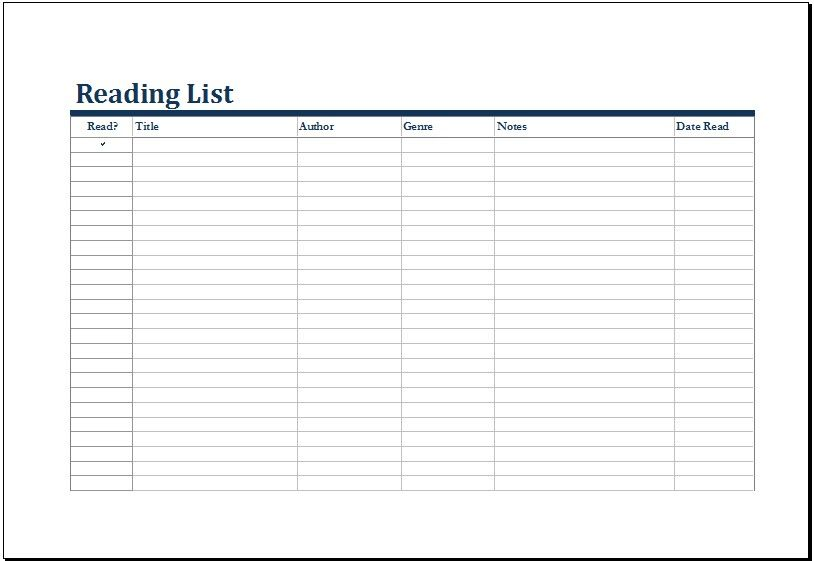Pin by Pammy on Forms List template, Templates, Reading lists