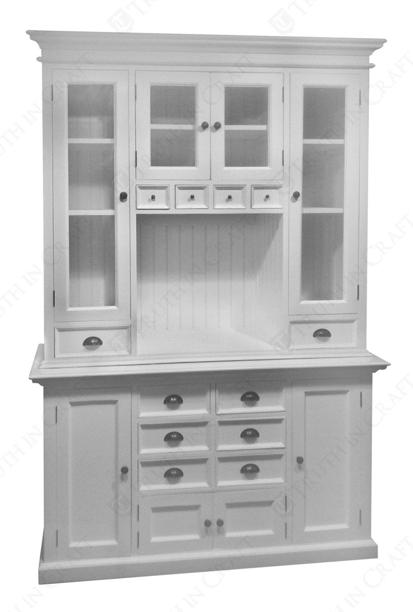 Halifax Kitchen Hutch Cabinet In White Distressed Mahagony