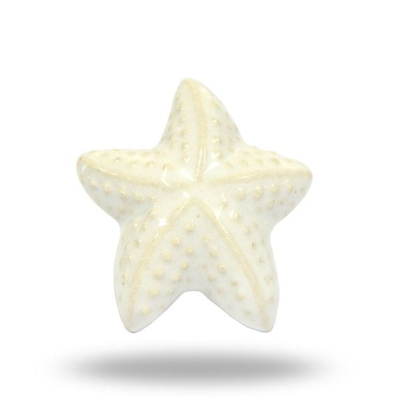 Ceramic White Starfish Door Knob, Unique Ocean Beach Themed ...