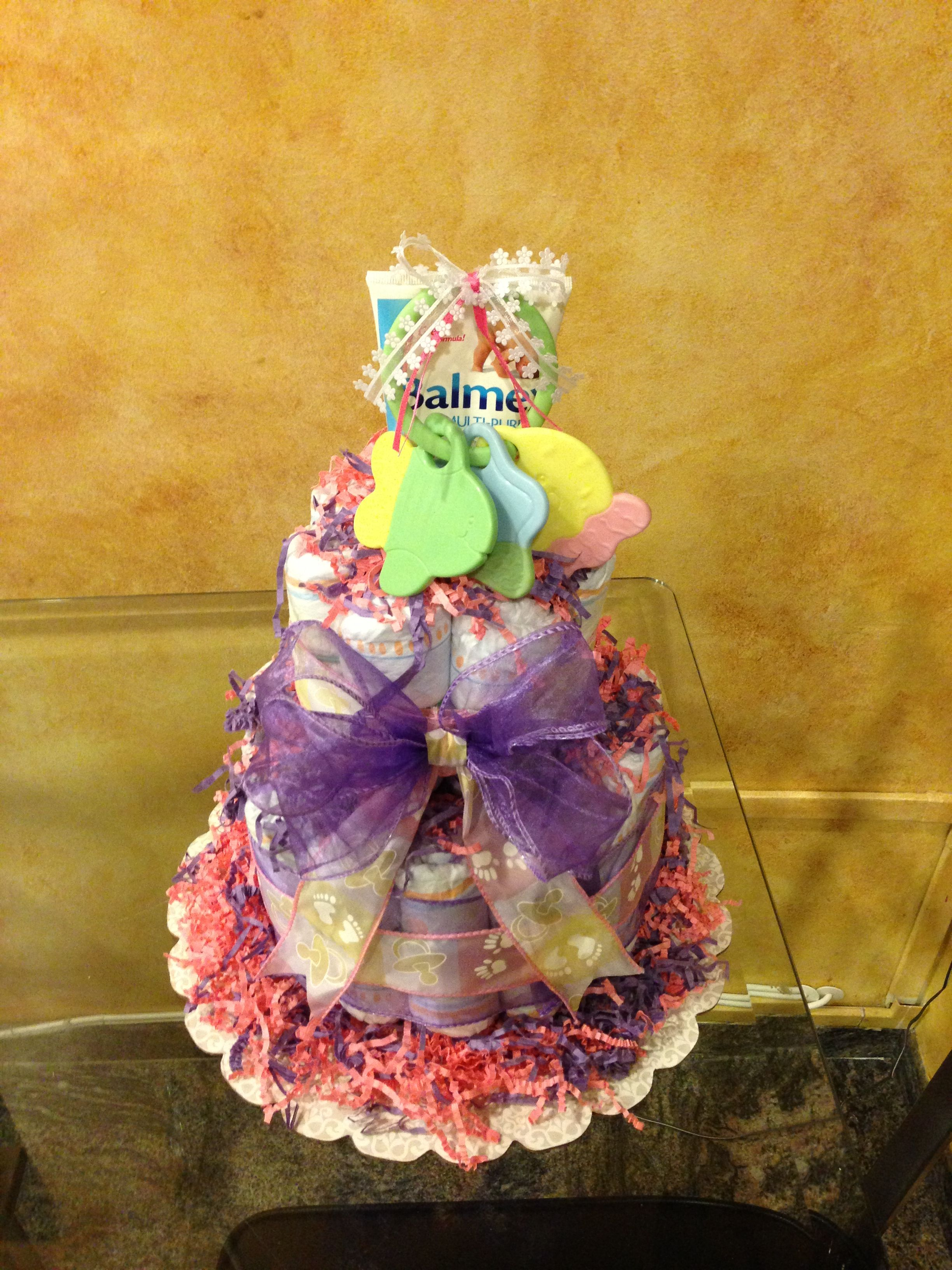 Another small diaper cake i better start making boy cakes