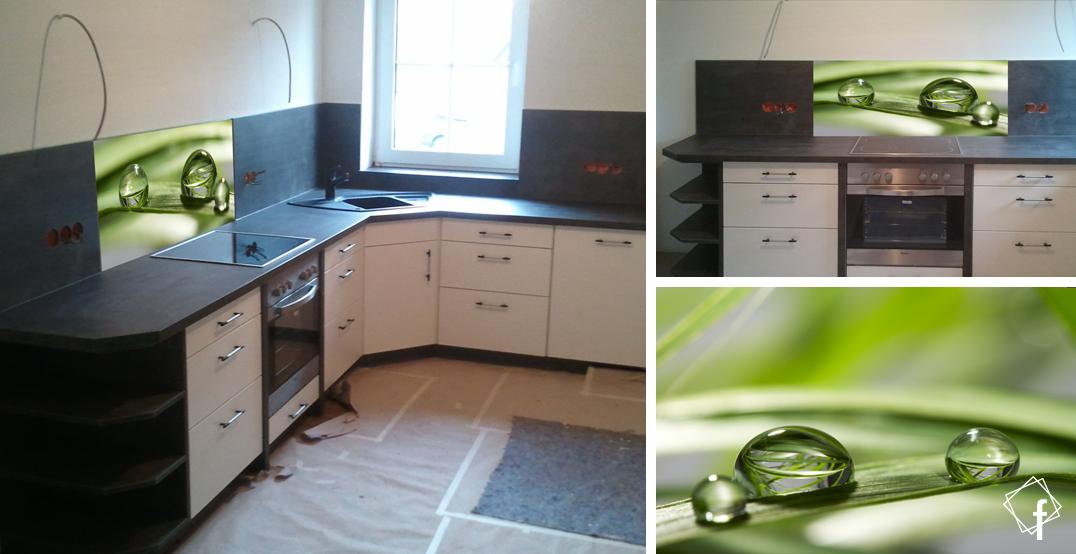 digital bedruckte k chenr ckwand glas spritzschutz nischenverkleidung aus glas mit tropfen. Black Bedroom Furniture Sets. Home Design Ideas