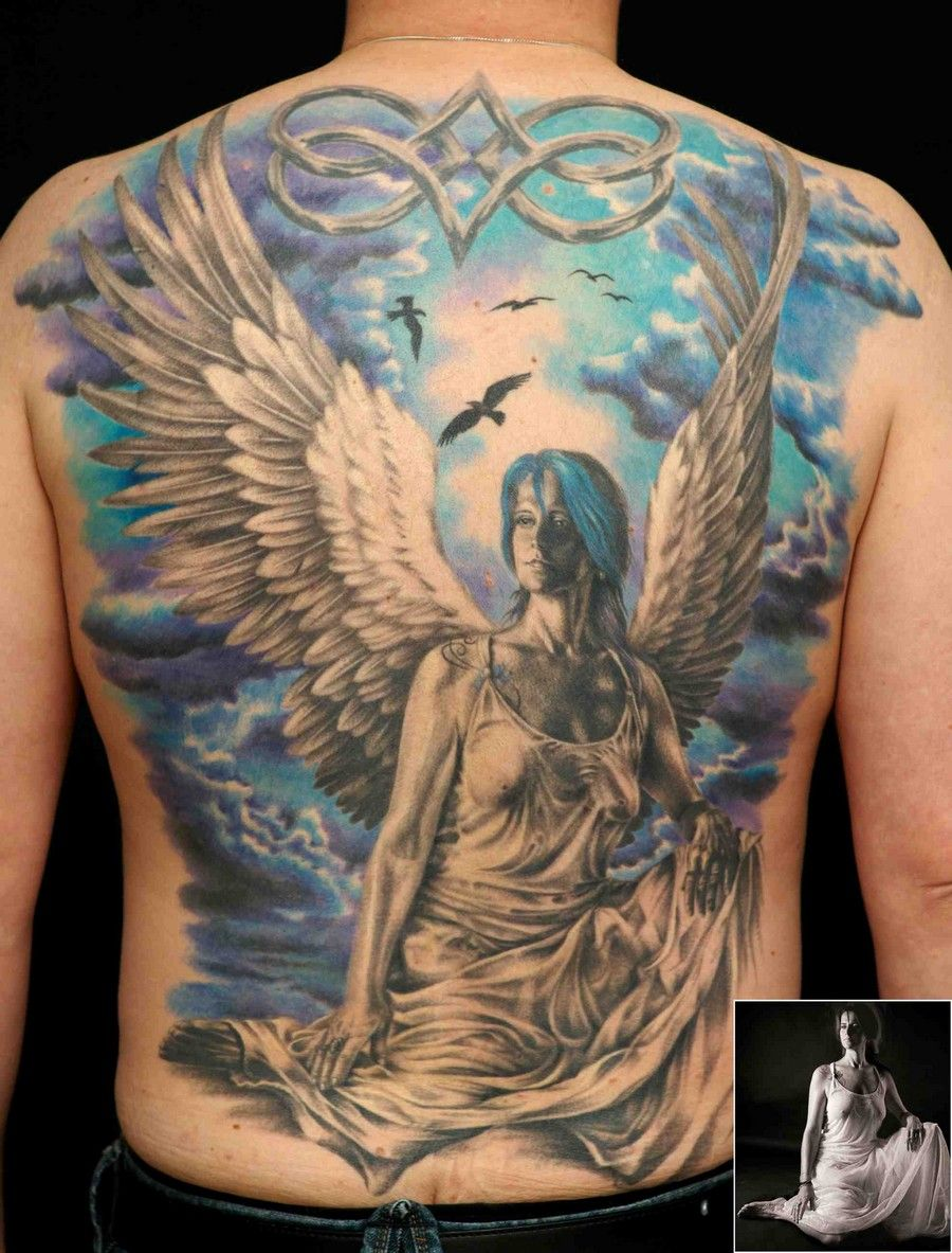 guardian angel sleeve tattoos | Angel Tattoo For Men ...