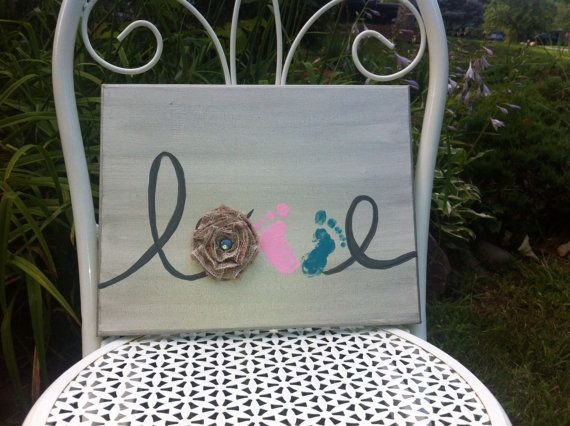 Perfect baby shower gift! Hand painted baby footprint Canvas Painting kit by TinRoofRustics, $30.00