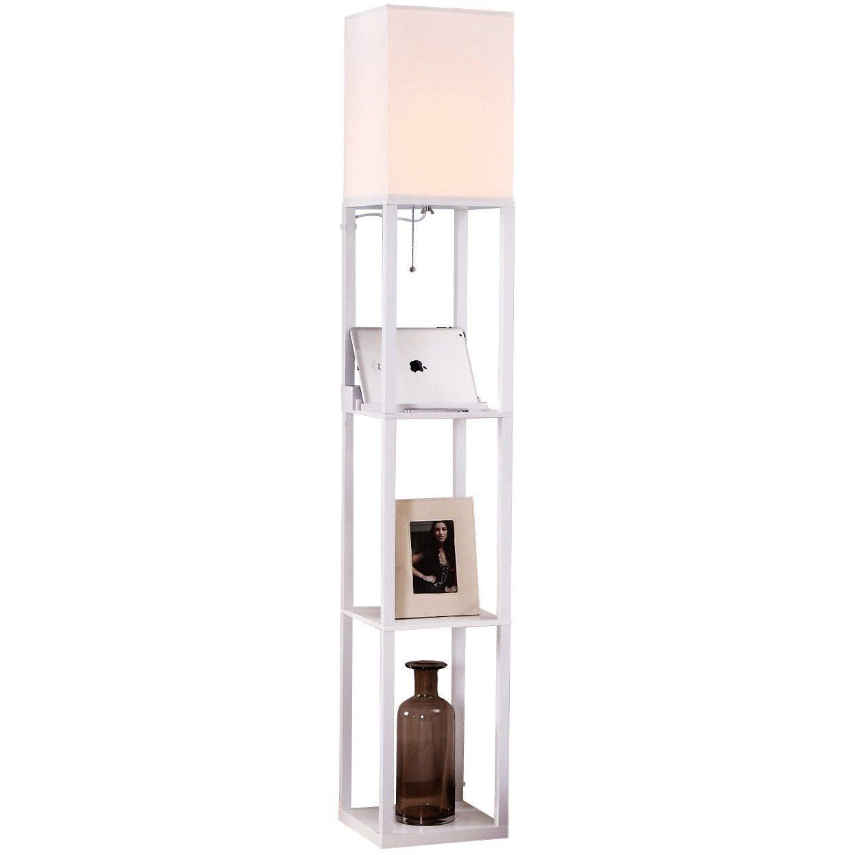 Brightech Maxwell Usb Shelf Floor Lamp Mood Lighting For Your Living Room And Bedroom Shade Diffused Light Source In A Natural Wood Floor Lamp With Shelves