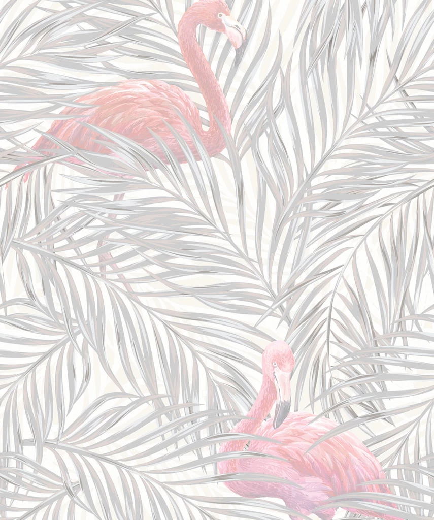 Tropical Flamingos Wallpaper in Subtle from the Wallpaper Republic Col