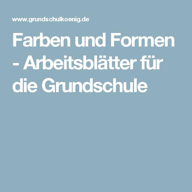 Farben und Formen - Arbeitsblätter für die Grundschule | Vorschule ...