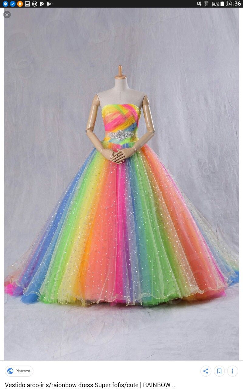 Pin by Susanne Floß on Shirts  Rainbow wedding dress, Pretty