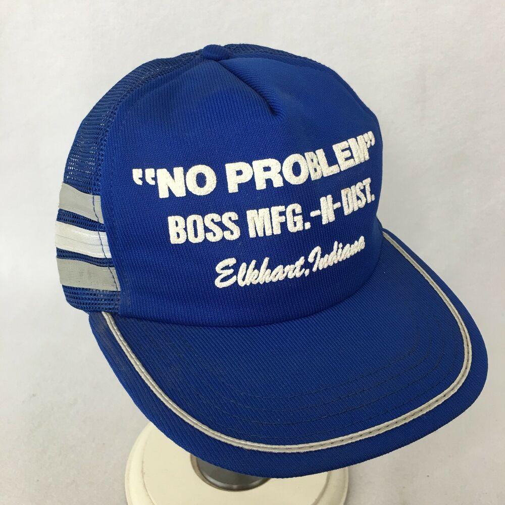 No Problem Boss Mfg Hat 3 Side Bars Stripe Snapback Made Usa Elkhart Indiana Vtg Unbranded Snapback In 2020 Pink Baseball Cap Hats Vintage Mesh Trucker Hat