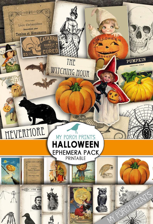 Halloween, Printable Ephemera Pack, Junk Journal, Post