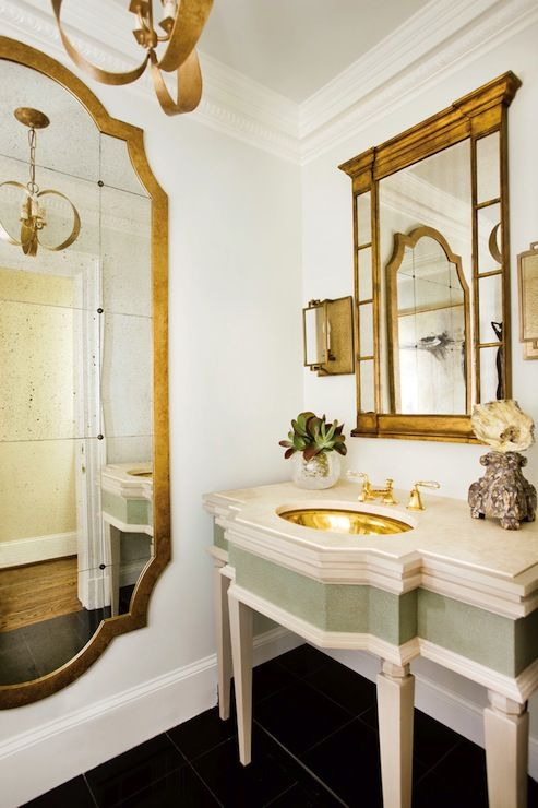 Source J Hirsch Interior Design Glamorous Bathroom With Gold - Antique brass bathroom sconces