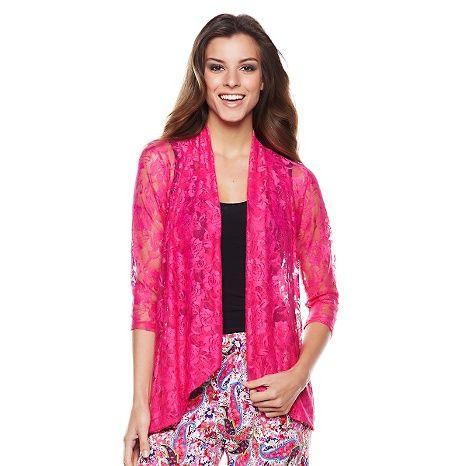 Slinky® Brand 3/4-Sleeve Floral Lace Jacket