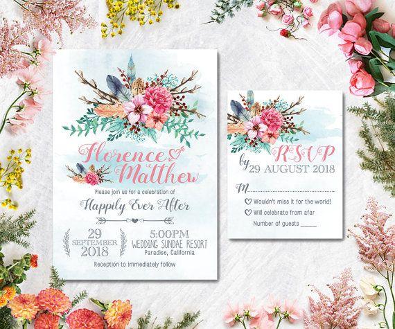 Digital Printable Files  Colorful Watercolor by WeddingSundaeShop #weddingsundae  #wedding #invitation #printable #flowers #leaves #pink #feather #boho #etsy #weddingcard #weddinginvitation #card #watercolor #colorful