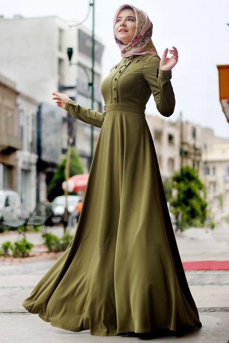 Hilal Bas Haki Yaka Desenli Elbise Fashion Muslimah Dress Abayas Fashion