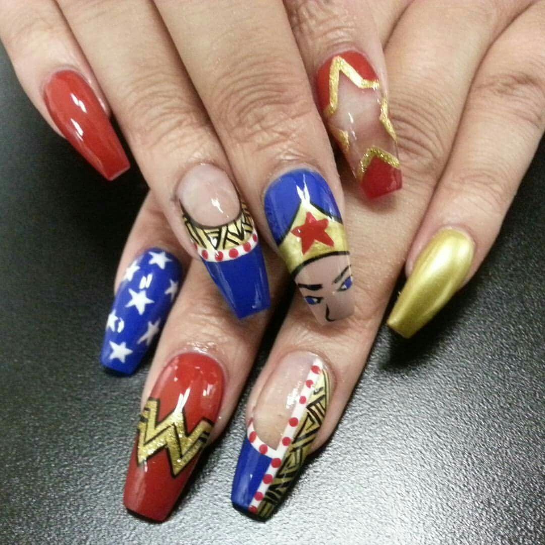 Wonder woman Wonder woman nail art Nail art Nail designs | Nails by ...