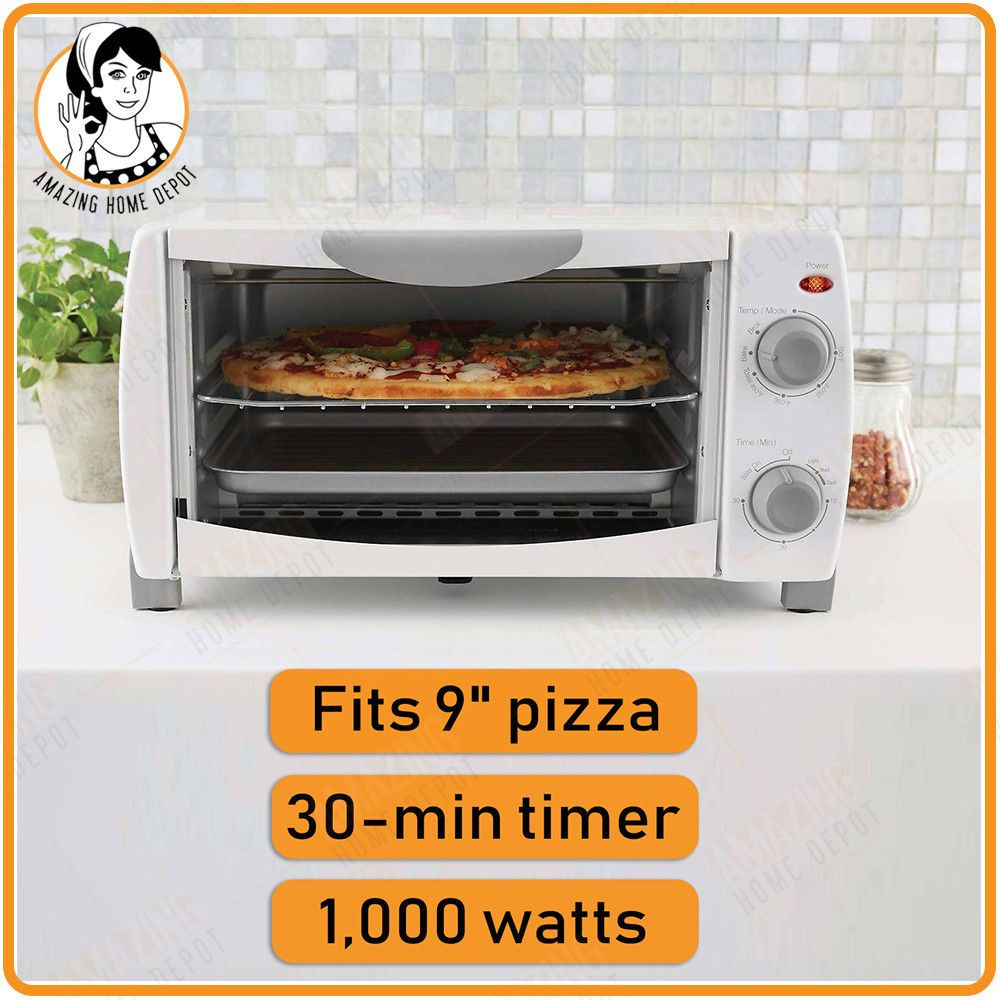 Electric Countertop Pizza Toaster Oven 4 Slice Tray Grill Bake