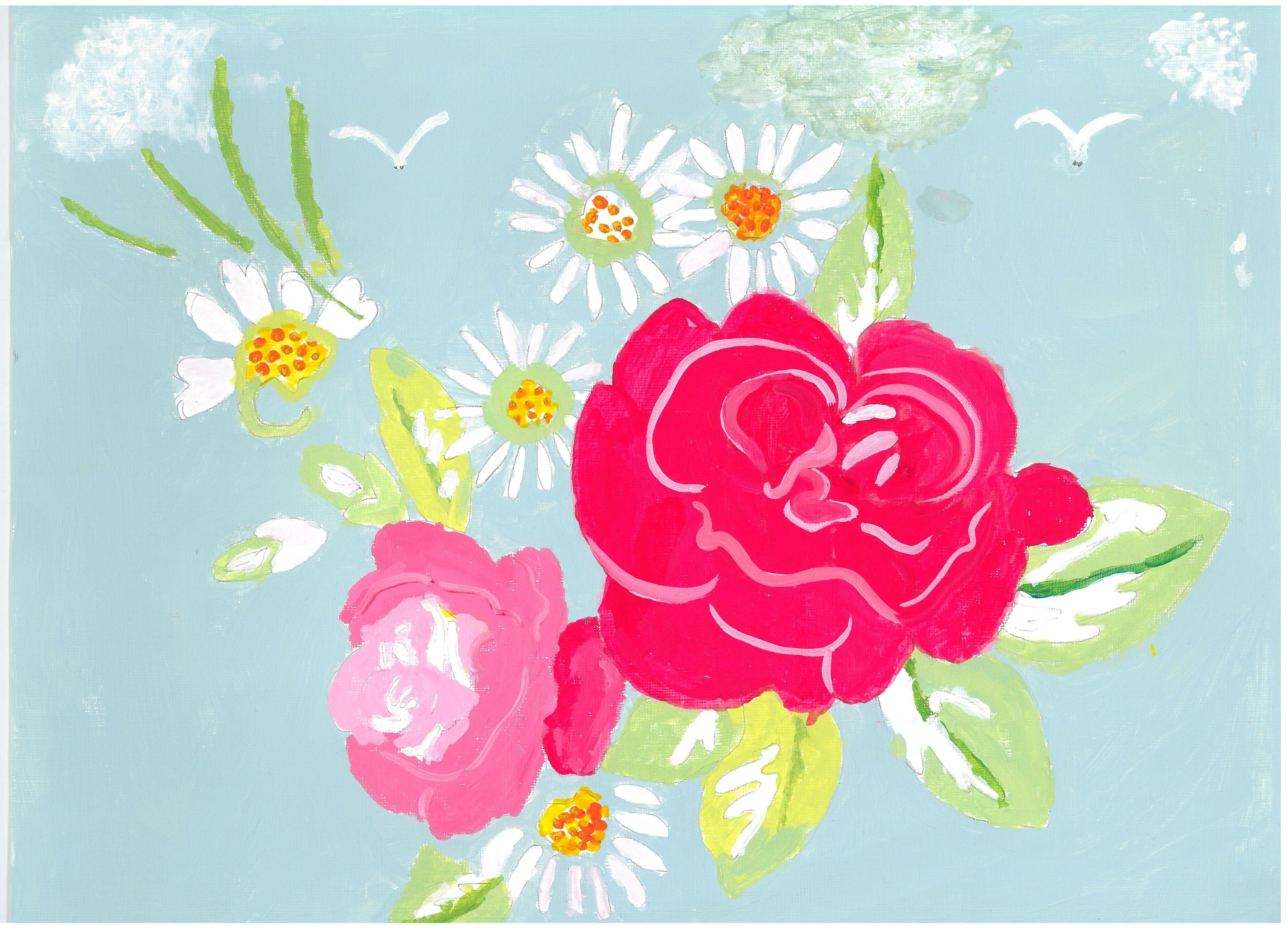 Title: Summer Bouquet painting Artist / Scheme: Doreen Griffin / Blackham House Medium: Acrylic